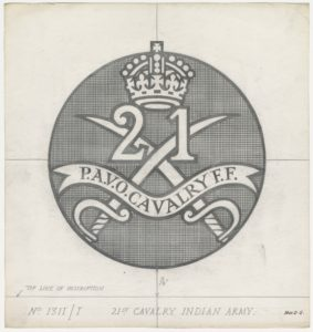 21st Cavalry Indian Army, crossed swords behind text, crown above